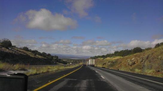 On the road in Arizona, black eye a-shining